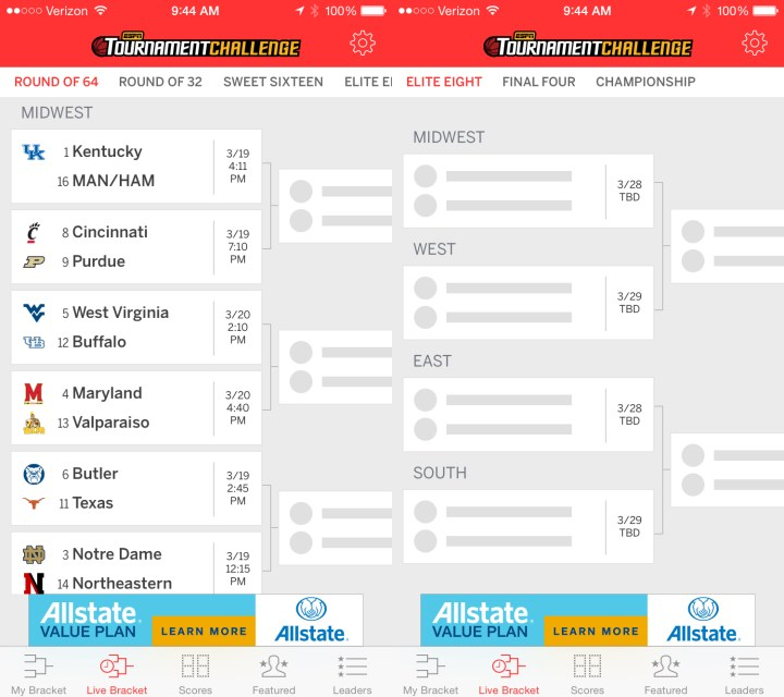 The EPSN Tournament Challenge app lets you create up to 10 NCAA brackets and compete for big prizes.