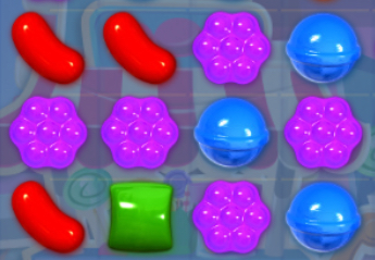 Identify the right match to make in Candy Crush.