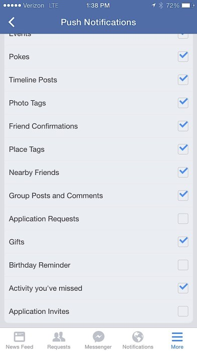 Turn off annoying Facebook game invites and notifications.