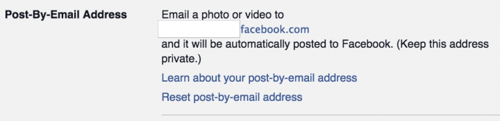 Post to Facebook by email.
