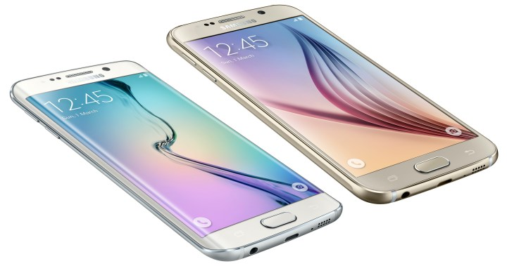 The Galaxy S6 and Galaxy S6 Edge displays are smaller than the Note 4, with the same resolution.