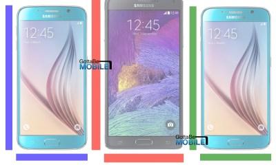 Galaxy S6 vs Galaxy Note 4 vs Galaxy S6 Edge size comparison.