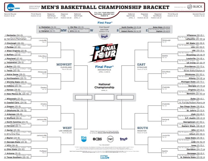 Use printable NCAA brackets to make filling out by hand easy.