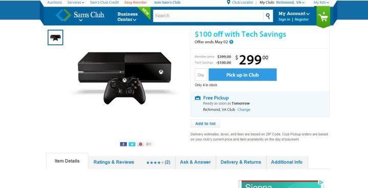 Xbox One Sam's Club