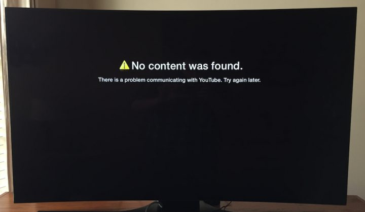 The Apple TV Youtube error that Apple TV 2 owners will see.