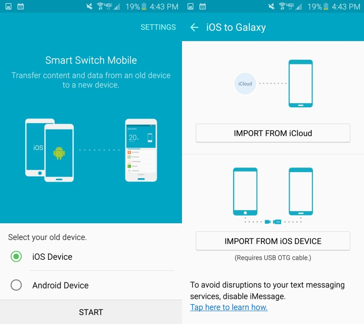 Switch from iPhone to Galaxy S6 using iCloud or a cable.