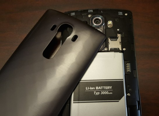 The LG G4 includes a removable battery and a Micro SD card slot.