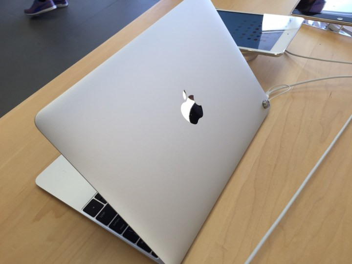You won't find a MacBook in stock at most Apple Stores yet.