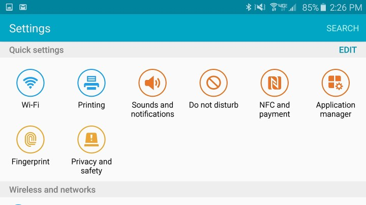 Choose nine settings you want fast access to.