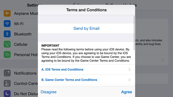 Agree to the terms to install the iOS 8.3 update.