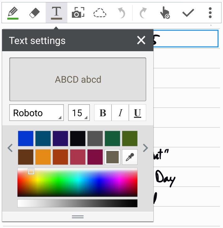 s note text settings box