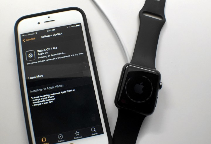Wait while the Apple Watch update installs on your Apple Watch.