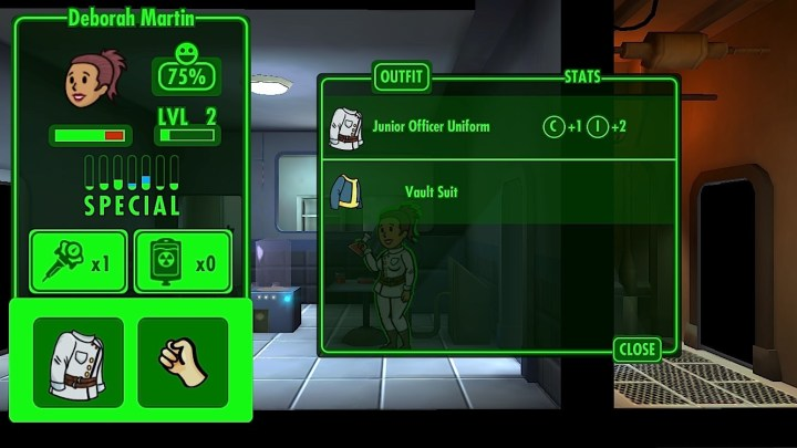 Use outfits and weapons to upgrade dwellers.