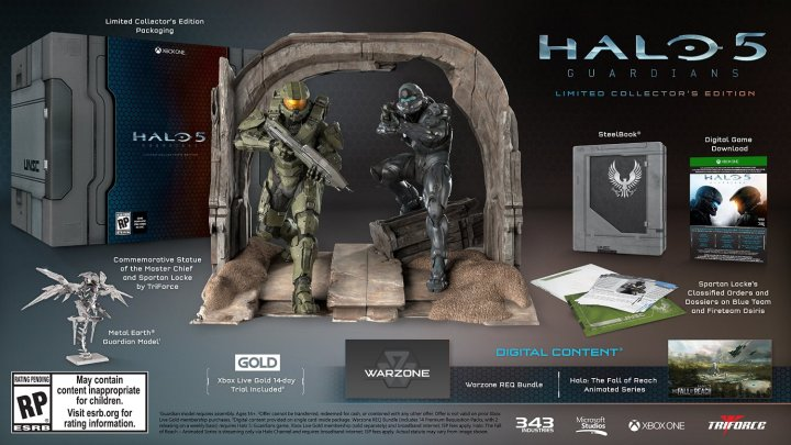 Everything you get with the Halo 5 Collector's Edition.
