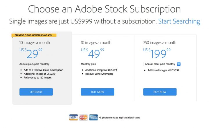 adobe stock photos subscription rates