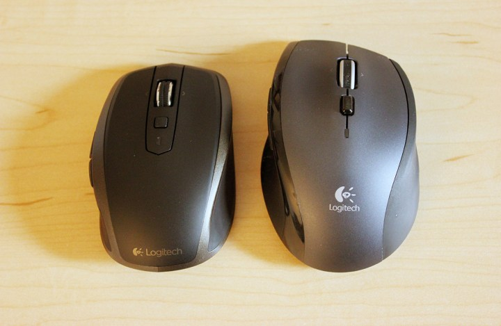 The  MX Anywhere 2 is considerably smaller than the Marathon Mouse M705