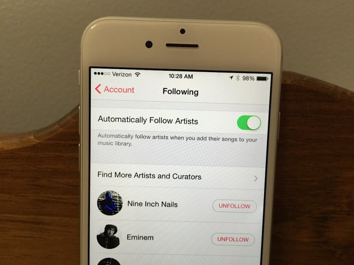 Automatically follow artists you add to your library.