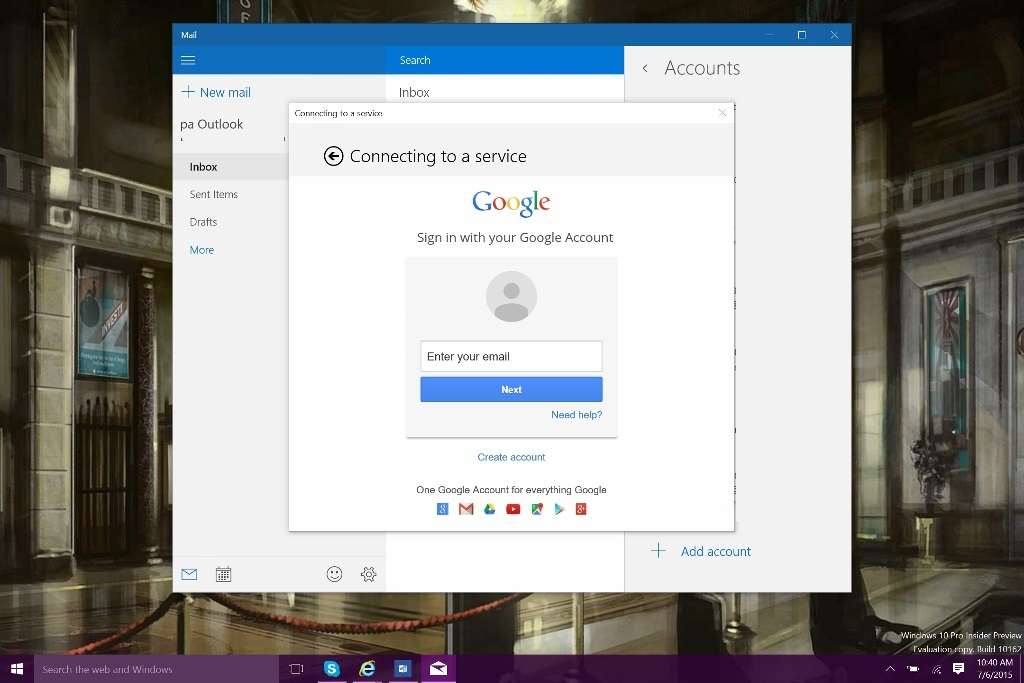 how to add work outlook account to windows 10 outlook