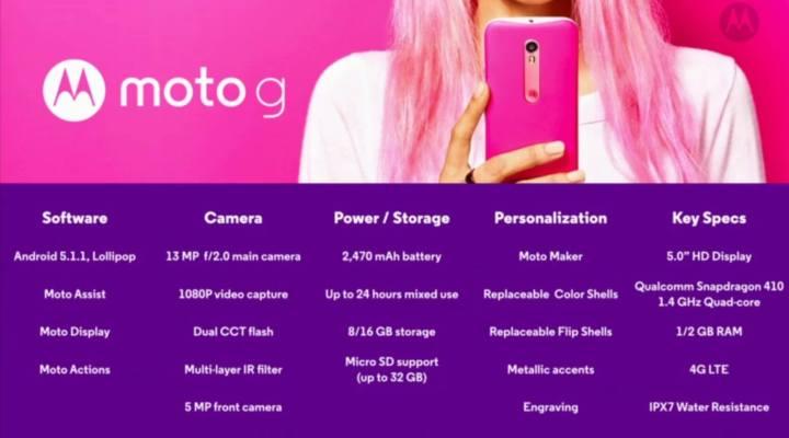 The full list of new Moto G 3 specs.