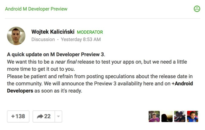 Android M Developer Preview 3 Release Delayed