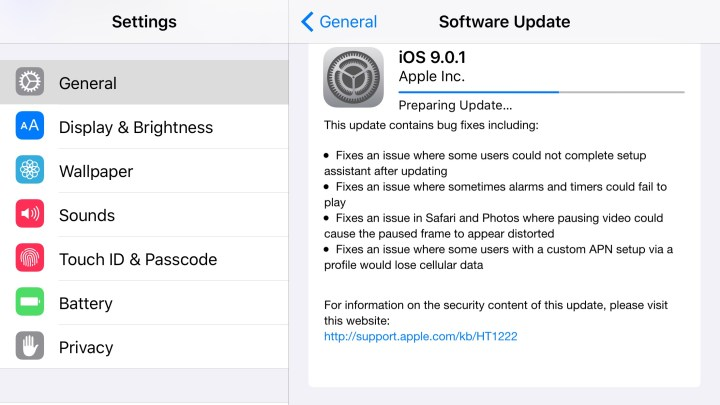 The iOS 9.0.1 update is fast to install if you are already on iOS 9.