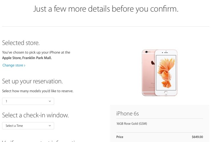 Confirm your iPhone 6s reservation and save a record in case you don't get an email confirmation.
