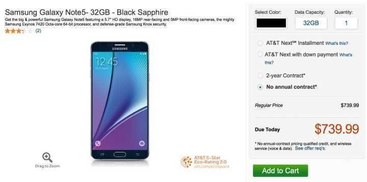 Nexus 6P vs Note 5: Price