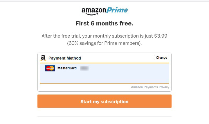 amazon prime membership monthly payments