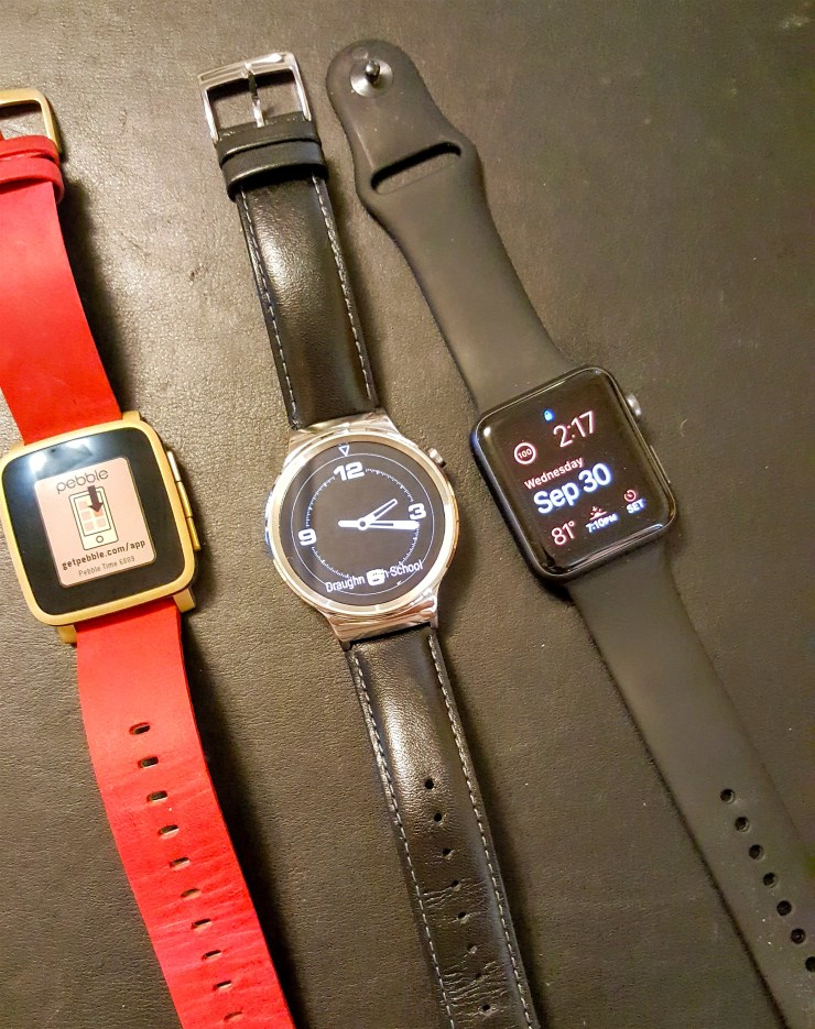 hawei pebble and apple watches