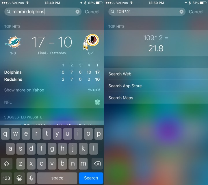 Some of the new iOS 9 search features in action.