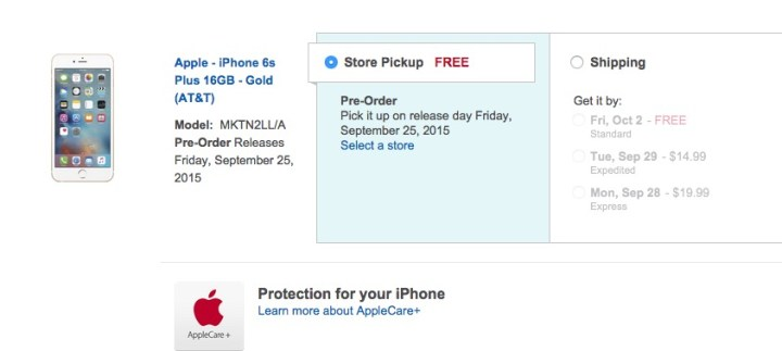 Select in store pickup to get your new iPhone on the iPhone 6s Plus release date.