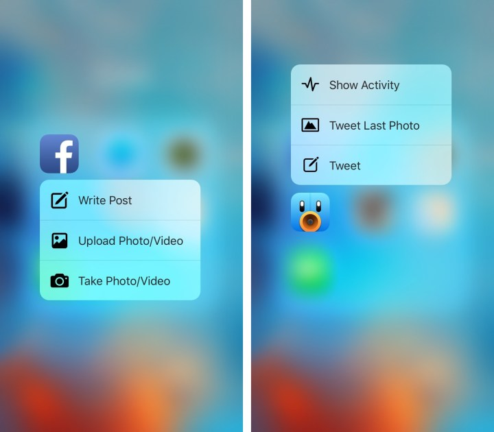 3D Touch Quick Actions on the iPhone 6