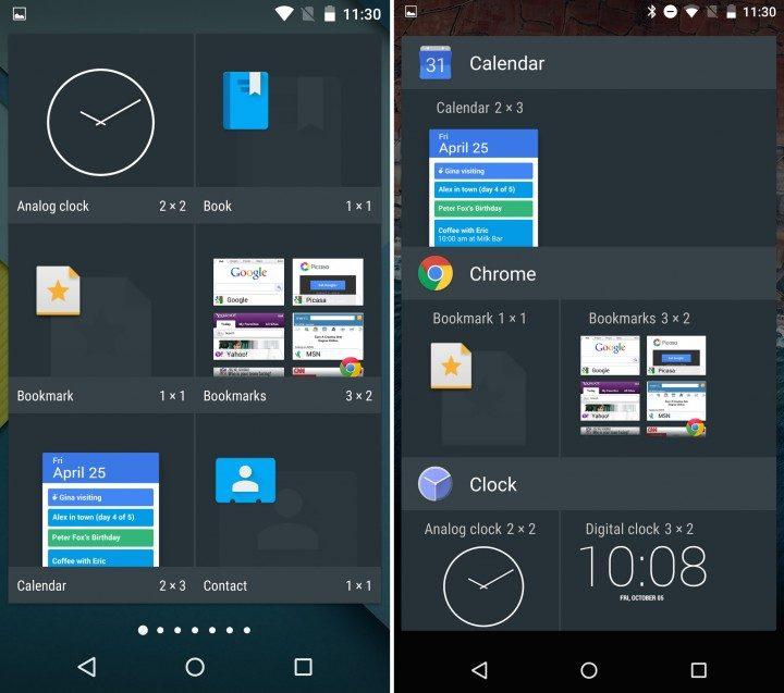 Android 5.1 vs Android 6: Widget Menu