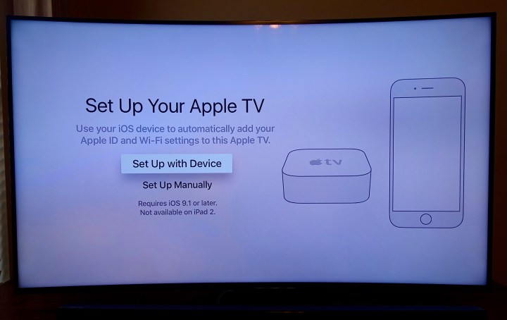 Choose how you want to set up the Apple TV.