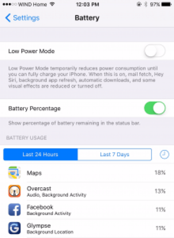 Facebook iPhone battery life