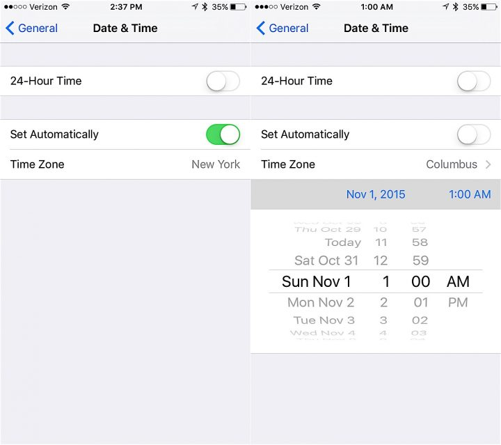 How to manually change the timer for Daylight Saving on your iPhone.