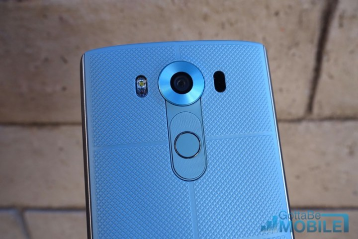 The LG V10 has a metal frame and a fingerprint scanner