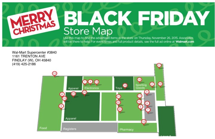 You can see the Walmart Black Friday store maps online or on the phone.
