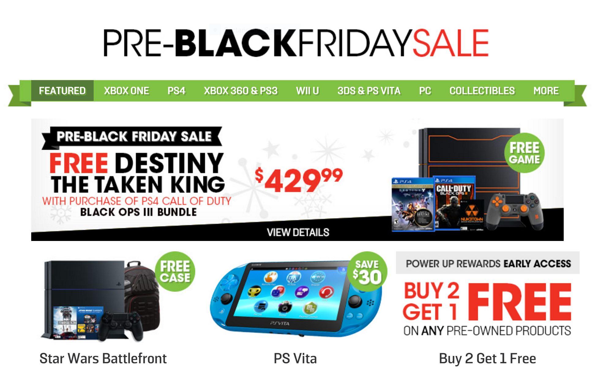 GameStop Pre-Black Friday 2015 Deals Amp Up the Savings