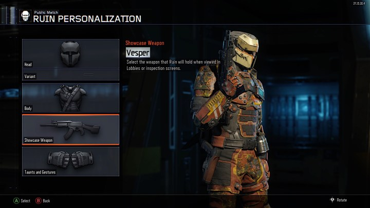 Customize your specialist to add camo or a paintjob to the showcase weapon.