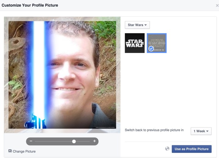 Change options as you set up a Facebook Star Wars lightsaber photo for Star Wars: The Force Awakens.