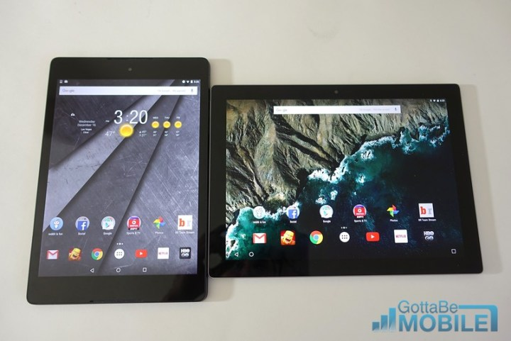 Nexus 9 (left) vs Pixel C (right)