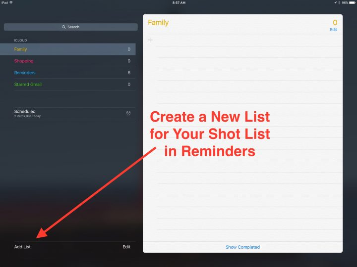 create shot lists in reminders