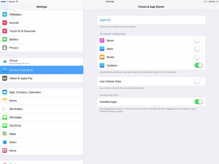 itunes and app store settings ipad pro