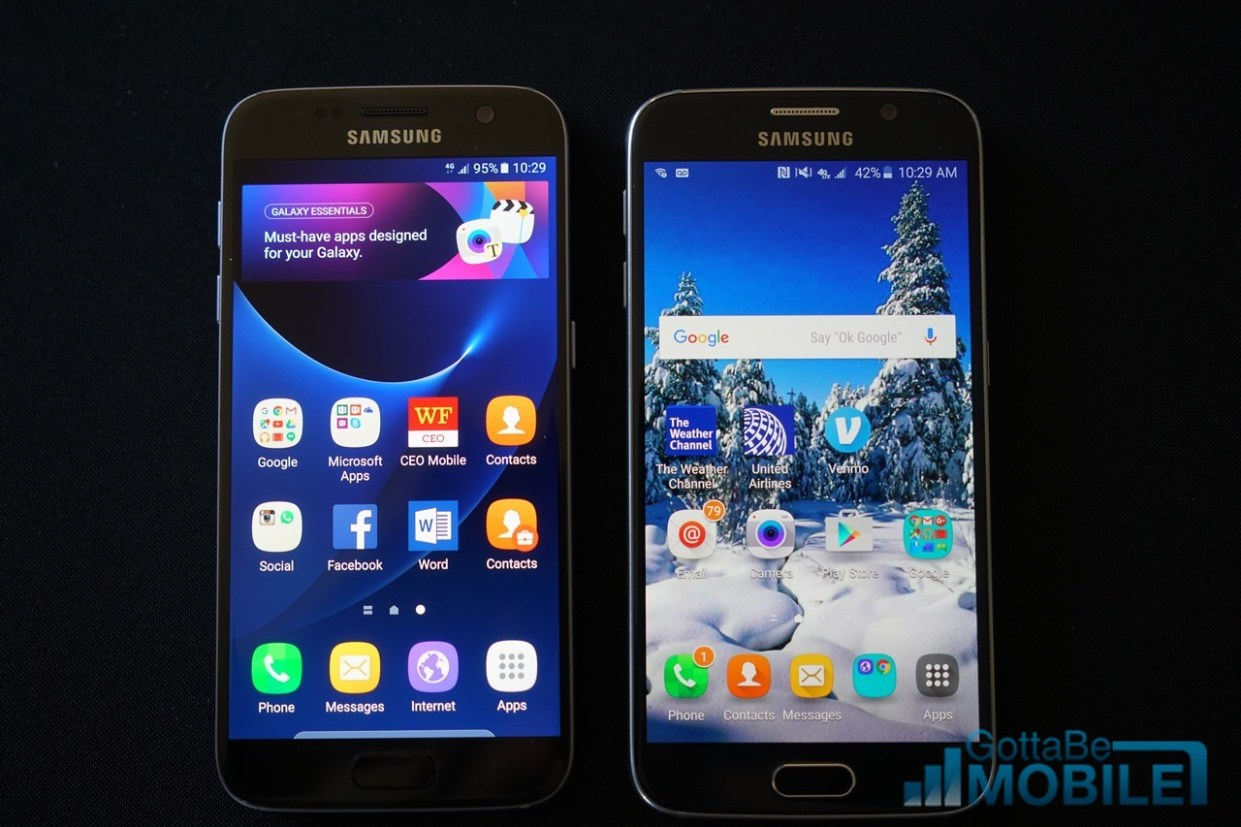 Galaxy S7 (left) vs Galaxy S6 (Right)