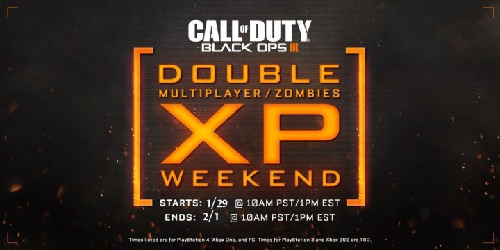 Here are the January Black Ops 3 Double XP weekend details.