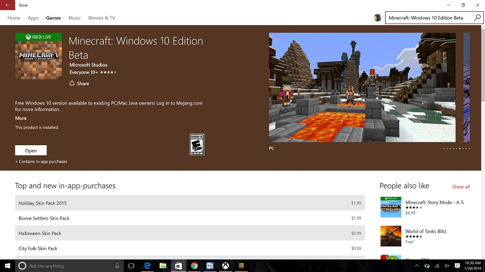Mojang раздаст Minecraft: Windows 10 Edition Beta бесплатно