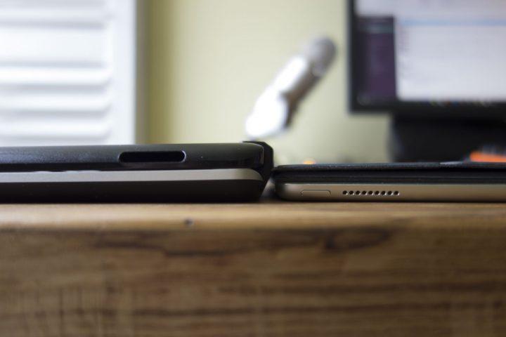 Zagg SlimBook for iPad Pro on left, iPad Pro with Apple Smart Keyboard on right.