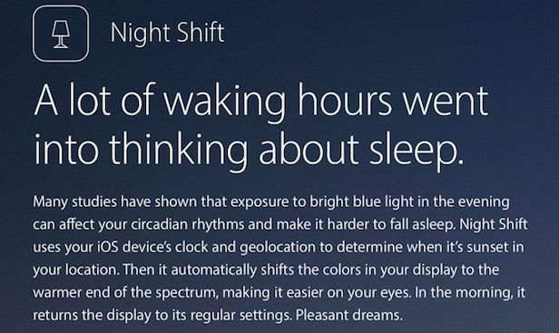 Don't Expect Night Shift for Every Device