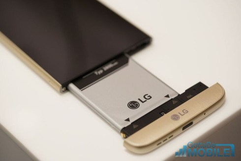 The LG G5 has a removable and replaceable battery